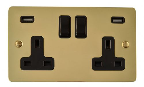 G&H FB910B Flat Plate Polished Brass 2 Gang Double 13A Switched Plug Socket 2.1A USB
